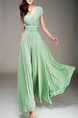 Green Slim V Neck Chiffon Full Skirt Dress for Party Evening Bridesmaid Prom