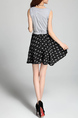 Black and Gray Slim Adjustable Waist Printed Fit & Flare Above Knee Dress for Casual Party
