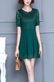 Green Loose Plus Size Round Neck Lace Linking Above Knee Shift Dress for Casual Party Office
