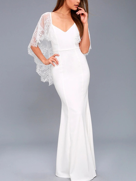 White Slim V Neck Open Back Lace V Neck Maxi  Dress for Party Evening Cocktail Prom Bridesmaid