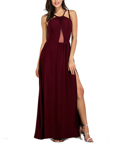 Jujube Red Slim Plus Size Full Skirt Open Back Off-Shoulder Furcal Adjustable Waist Maxi Dress for Party Evening Cocktail Prom