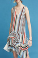Colorful Loose V Neck Stripe Pleated Linking Asymmetrical Hem Knee Length Dress for Casual