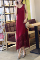 Red Slim Round Neck Lace Linking Midi Shift Dress for Casual Party