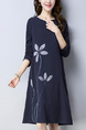 Blue Loose Plus Size V Neck Printed Shift Knee Length Long Sleeve Dress for Casual