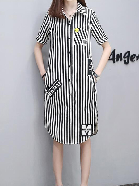 Black and White Loose Plus Size Lapel Stripe Patch Embroidered Midi Dress for Casual