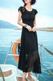 Black Slim Plus Size Round Neck Chiffon Bubble Sleeve Maxi Dress for Casual Beach