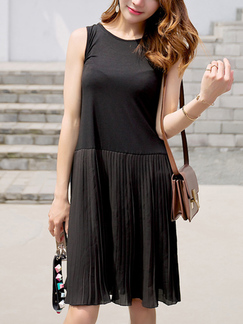 Black Slim Pleated Linking Round Neck Shift Knee Length Dress for Casual Party