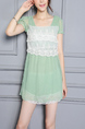 Green and White Slim Chiffon Linking Lace Adjustable Waist Above Knee Dress for Casual Party