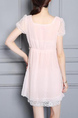 Pink and White Slim Chiffon Linking Lace Adjustable Waist Above Knee Dress for Casual Party