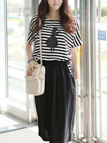 Black and White Loose Plus Size Round Neck Stripe Linking Adjustable Waist Printed Knee Length Dress for Casual