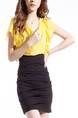 Black and Yellow Slim Plus Size Round Neck Chiffon Over-Hip Linking Bodycon Above Knee Dress for Casual Party Office Evening