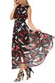 Black and Colorful Slim Full Skirt Round Neck Chiffon Adjustable Waist Printed Dress for Casual Party