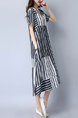 Gray and White Loose Plus Size Full Skirt Round Neck Stripe Linking Shift Midi Dress for Casual