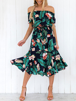 Colorful Slim Full Skirt Boat Neck Chiffon Band Adjustable Waist Printed Midi Floral Off Shoulders Dress for Casual Party Beach