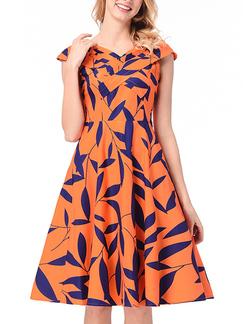 08d447e00 White and Black Slim Plus Size Full Skirt V Neck Wave Point Linking ...