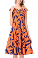 Orange and White Slim Plus Size A-Line V Neck Printed Fit & Flare Knee Length Dress for Casual Party