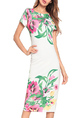 White and Colorful Slim Plus Size Round Neck Over-Hip Printed Bodycon Floral Midi Dress for Casual Party Evening