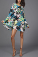 Colorful Loose Full Skirt Round Neck Linking Printed Above Knee Long Sleeve Dress for Casual Party