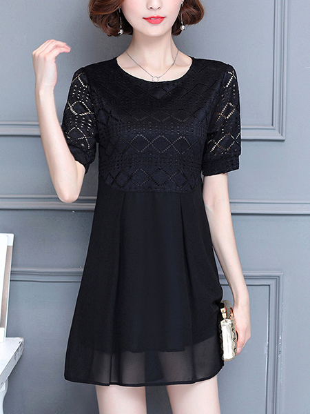 Black Loose Plus Size Round Neck Lace Linking Above Knee Shift Dress for Casual Party Evening