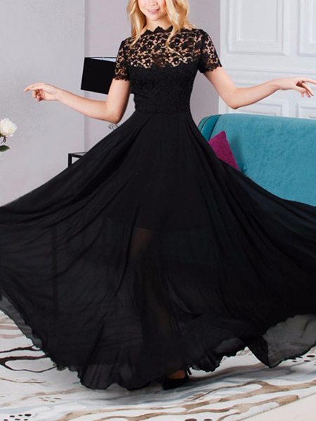 Black Slim Plus Size Full Skirt Round Neck Chiffon Lace Linking Maxi Dress for Party Evening Cocktail Prom