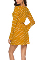 Yellow Slim A-Line V Neck Chiffon Wave point Flare Sleeve Adjustable Waist Ruffled Fit & Flare Above Knee Long Sleeve Dress for Casual Party Evening