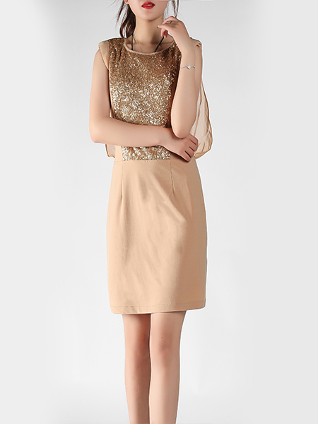 Khaki Slim Round Neck A-Line Chiffon Linking Sequins Sheath Above Knee Dress for Party Evening Cocktail