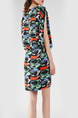 Green and Colorful Slim Bat Round Neck A-Line Linking Contrast  Above Knee Dress for Casual Party