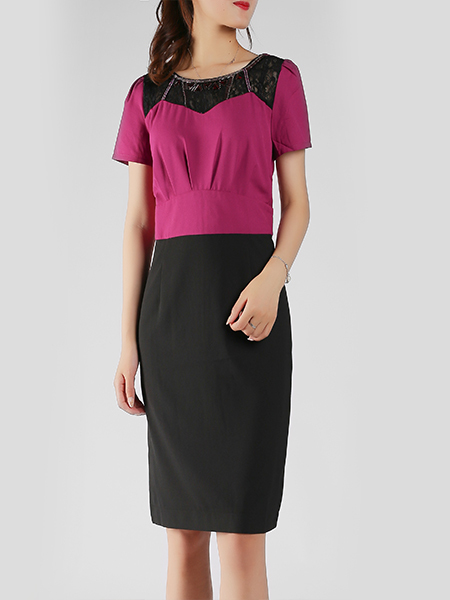 Purple and Black Slim Plus Size A-Line Round Neck Linking Bead Lace Above Knee Sheath Dress for Casual Office