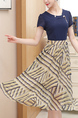 Navy and Yellow Slim Plus Size Full Skirt Round Neck Chiffon Linking Midi Dress for Casual Party Office