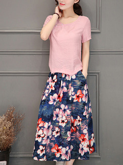 Pink and Blue Plus Size Two-Piece Edging Collar Printed Adjustable Waist Floral Midi Dress for Casual