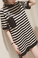 Black and White Plus Size Slim H-Shaped Contrast Stripe Round Neck Furcal Side Above Knee Shift Dress for Casual