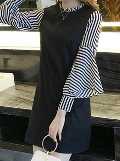 Black and White Plus Size Slim A-Line Linking Stripe Flare Sleeve Laced Round Neck Long Sleeve Above Knee Dress for Casual Office