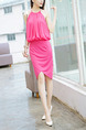 Pink Chiffon Slim Pleated Hang Neck Off-Shoulder Open Back Over-Hip Asymmetrical Hem Halter Knee Length Dress for Casual Party Evening
