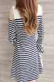 Black and White Slim A-Line Contrast Stripe Round Neck Off-Shoulder Flare Above Knee Dress for Casual