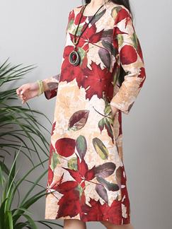 Red Brown and Yellow Plus Size Loose A-Line Printed Round Collar Pockets Long Sleeve Floral Knee Length Shift Dress for Casual