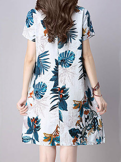 Blue and White Plus Size Slim A-Line Printed Round Neck Pockets Furcal Side Knee Length Shift Dress for Casual