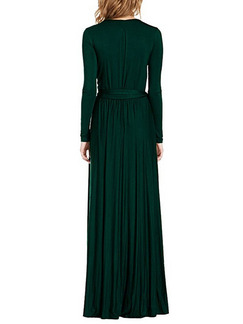 Green Slim V Neck Band Belt Furcal Full Skirt Long Sleeve Maxi Dress for Party Evening Cocktail