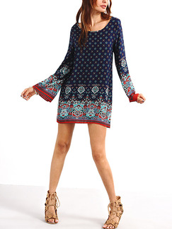 Blue Red and Green Plus Size Slim A-Line Printed Round Neck Flare Long Sleeve Shift Above Knee Dress for Casual