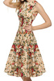 Beige and Red Colorful Plus Size Slim Printed A-Line Round Neck Band Belt Back Fit & Flare Knee Length Floral Dress for Casual