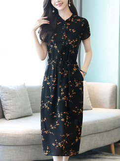 Black Chiffon Plus Size Slim A-Line Printed Stand Collar Buttons Adjustable Waist Pockets Knee Length Dress for Casual Party Office