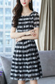 Black and White Chiffon Plus Size A-Line Contrast Stripe Round Collar Double Layer Above Knee Dress for Casual Party
