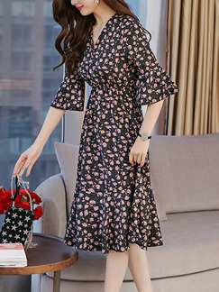 Blue Colorful Chiffon Plus Size Slim Printed V Neck Flare Sleeve Adjustable Waist Fishtail Knee Length Floral Dress for Casual Party