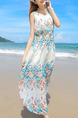 White Colorful Chiffon Slim Floral Strapless Round Neck Adjustable Waist Full Skirt Maxi Dress for Casual Beach