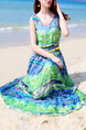 Green and Blue Plus Size Slim Strapless Printed Round Neck Adjustable Waist Full Skirt Maxi Dress for Casual Beach