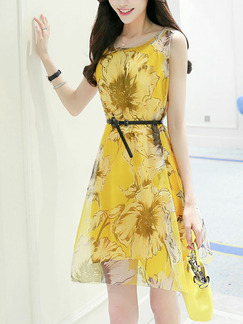 Yellow Two-Piece Chiffon Slim A-Line Printed Round Neck Double Layer Above Knee Dress for Casual Party