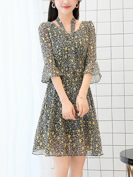 Black and Yellow Chiffon Slim A-Line Printed V Neck Flare Sleeve Band Double Layer Dress for Casual Party