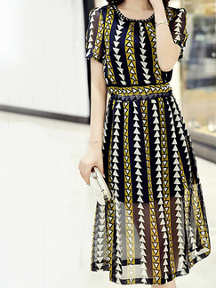 Black White and Yellow Slim A-Line Printed Stripe Round Neck Double Layer See-Through Adjustable Waist Knee Length Dress for Casual Party Office