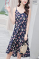 Blue Colorful Chiffon Plus Loose Slim A-Line Sling Floral Ruffle Asymmetrical Hem Open Back Slip Knee Length Dress for Casual Party