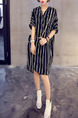 Black and White Chiffon Plus Size Loose Contrast Stripe V Neck Lapel Asymmetrical Hem Knee Length Dress for Casual