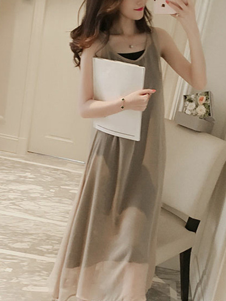 Beige Chiffon Two-Piece Plus Size Loose Round Neck Sling See-Through Shift Maxi Dress for Casual